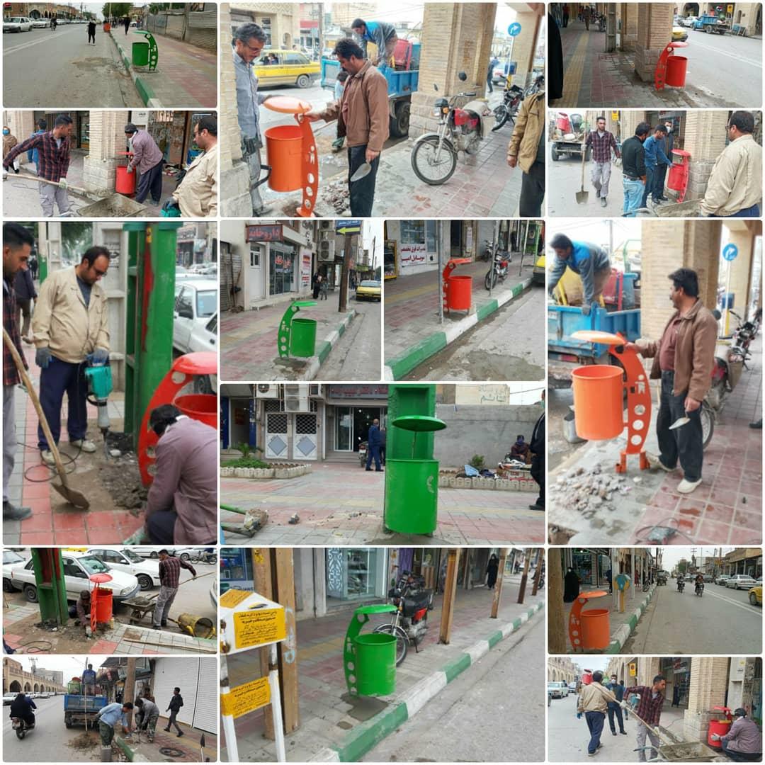 نصب سطل زباله در مسیر خیابانهای اصلی سطح شهر
